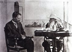 Leo Tolstoy (1828-1910) and, on the left, Anton Chekhov (born 29 January, 1860; died 15 July, 1904) in a 1901 photograph by P. A. Sergeyenkev