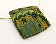 Polymer Clay Necklace Green Gold - Polymer Clay Jewelry Modern Art  Pendant Forest Tale - Contemporary Art Jewelry.