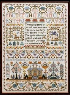"""""""Three Things Sampler"""" is the title of this cross stitch pattern from Moira Blackburn. 'Three things that will never come back; the arrow shot forth on its destined track; the appointed hour that would not wait; the helpful word spoken too late'."""