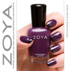 Rocking a Fall combo for today with Zoya Nail Polish in Monica and Raven tips. Purple Nail Polish, Zoya Nail Polish, Nail Polish Colors, Fun Nails, Pretty Nails, Nice Nails, Glamour Nails, Cool Nail Designs, All That Glitters