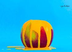 #neon #foodphotography #apple #paint #yellow