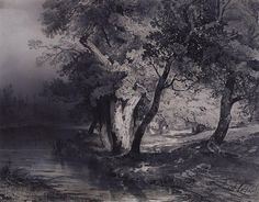Alexei Savrasov - Forest near the lake, illuminated by the sun (black and lead pencil on tinted paper, 1856)