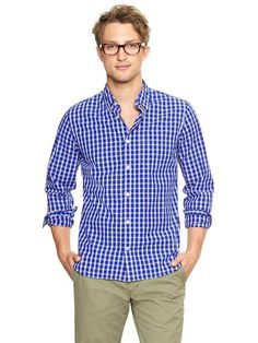 Love the lived-in wash of this blue check shirt