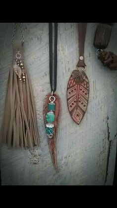 Upcycled leather jewelry by 1-Oak Up www.Facebook.com/1oakup