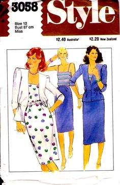 1980s Style Sewing Pattern No 3058 for Womens by jennylouvintage, $8.00