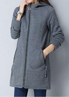 Hooded Collar Zipper Front Grey Coat | liligal.com - USD $42.38
