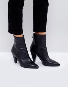 ASOS ELODIE Leather Cone Heel Boots - Black