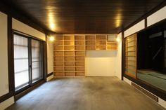 京都 京町家 リノベーション 桧集成材の本棚