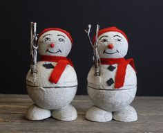 2 Vintage Paper Mache Snowmen // Made In Japan // Mid by MyBarn