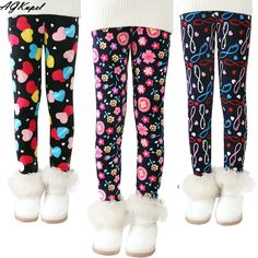 Plus Velvet Girl Kids Winter Pants Thickening Girls Leggings Cartoon For 24M-10Years Warm Girls' Trousers Children's Clothing #>=#>=#>=#>=#> Click on the pin to check out discount price, color, size, shipping, etc. Save and like it!