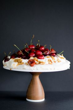 Caramelized Almond Brittle + Cherry Pavlova // Sponsored by Cook Flavoring Company 10 Inch Cake, Almond Brittle, Walnut Cake, Food Photography Tips, Cake Shop, Pavlova, Panna Cotta, Caramel, Cherry