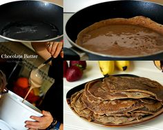 Chocolate Crêpes filled with Strawberries and Bananas