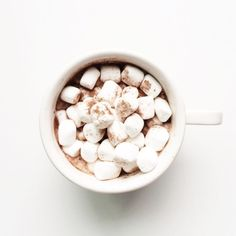 a cup of hot chocolate with mini marshmellows