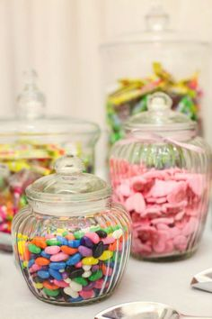 """Some gorgeous pics of Michelle & Alan's """"Beach & Berg"""" . Candy Table, Glass Jars, Decorative Items, Nostalgia, Wedding Decorations, Sweets, Candy Stations, Glass Pitchers, Good Stocking Stuffers"""