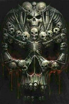 Risultati immagini per fantasy art skulls Skull Tattoo Design, Skull Design, Skull Tattoos, Body Art Tattoos, Dark Fantasy Art, Dark Art, Arte Lowrider, Grim Reaper Art, Dark Reaper
