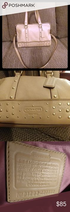 Coach Handbag Beautiful soft Tan leather. The handbag has been used, however taken great care of, it is clean nice hardware! Coach Bags Shoulder Bags