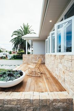 Today, I'm taking you inside a beautifully renovated Australian home, stylishly renovated by two TV stars. Kyal and Kara Demmirch are two of my. Interior Exterior, Exterior Colors, Exterior Design, Interior Ideas, Sandstone Cladding, Sandstone Wall, Weatherboard House, Queenslander, Hamptons Style Homes