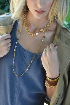 Minny Necklace with GiGi Pearl Necklace by ExVoto Vintage Jewelry. Layering necklaces with Freshwater pearls. Made in USA. Free gift wrap and shipping