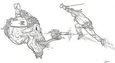 geofdarrow:  Shaolin Cowboy vs… flying baby-controlled skull. thanks for almost 500 followers!