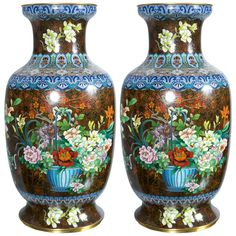 Pair of Chinese Cloisonne Vases 1