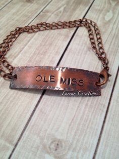 Ole Miss Hand Stamped Bracelet  Hotty Toddy by FarrarCreations, $33.00