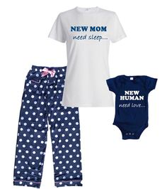 fa5b7271a6 Mommy Pajamas and Matching and Baby Onesie (sold Separately)- New Mom and  New Human - FREE Ship