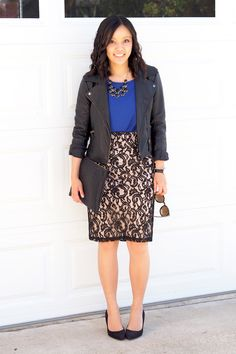 Love the mix of leather and lace.  Lace skirt, blue top, black Moto jacket, black pumps