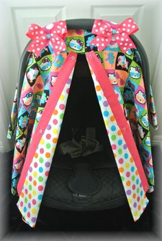 HELLO KITTY car seat canopy car seat cover neon by JaydenandOlivia.com
