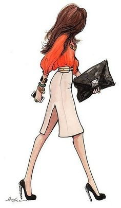 Trends (stacked bangles and tangerine) paired with neutrals (beige pencil skirt, black pumps).