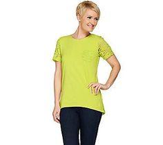 Denim & Co. Short Sleeve Hi-Low Hem Top with Lace Details