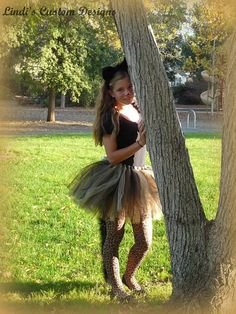 Tween, Teen, and Young Adult Cheetah Black Cat Boa Tail Tulle Tutu for Parties, Dress-up, Halloween Style
