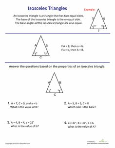 Introduction To Isosceles Triangles Homeschool Math Geometry Worksheets Isosceles Triangle