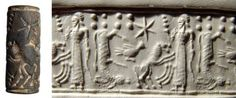 Syrian grey steatite cylinder seal, 2nd millennium B.C. A vivid scene involving a standing male figure holding an ornate staff and a sword facing a rampant lion, behind the lion is a bird and an antelope which has been turned upon its head to fit into the space, 2.5 cm long. Private collection