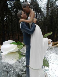 Ethnic Afro American black military USN Navy Sailor  Wedding Cake Topper  sexy pose Bride uniform Kiss Lift