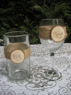 Rustic Wedding Wine Glass and Beer Mug (Mr. and Mrs.)