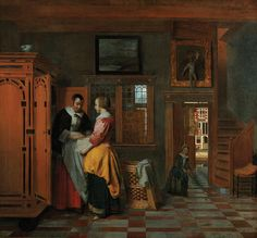 Interior with Women beside a Linen Cupboard by Pieter de Hooch from visiting Dutch art exhibit at the Nelson-Atkins Museum