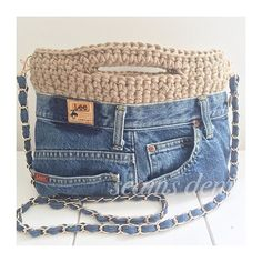 ✔ Cute Shoes With Jeans Bags Jean Crafts, Denim Crafts, Crochet Tote, Crochet Handbags, Artisanats Denim, Denim Handbags, Denim Ideas, Recycle Jeans, Shoes With Jeans