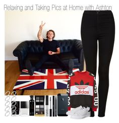 """""""Relaxing and Taking Pics at Home with Ashton"""" by elise-22 ❤ liked on Polyvore featuring Topshop, adidas, Bobbi Brown Cosmetics, shu uemura, NARS Cosmetics, Tom Ford, Profumi Del Forte, Butter London and ASOS"""