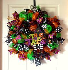"Colorful ""Trick Or Treat"" Halloween Wreath by AnySeasonAnyReason on Etsy https://www.etsy.com/listing/241489504/colorful-trick-or-treat-halloween-wreath"