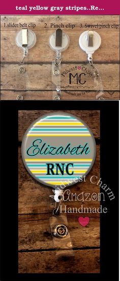 teal yellow gray stripes..Retractable badge holder, nurse gift, ob, L&D, id holder, reel, RN, LPN, CNA. ***PLEASE READ ENTIRE DESCRIPTION*** Great gift for anyone that uses a name badge! Ideal for nurses, educators, medical staff, office professionals and anyone else that is required to wear an ID badge. ♥ Leave the name or text that you want on your badge in the notes/comment box at checkout. ♥ Comes with your choice of belt clip, pinch clip, or swivel pinch clip ♥ Covered in mylar…