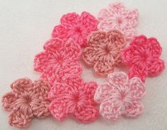 Crocheted Small Pink Flower Appliques by FineThreads on Etsy, $2.00