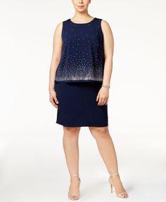 Jessica Howard Plus Size Embellished Popover Dress
