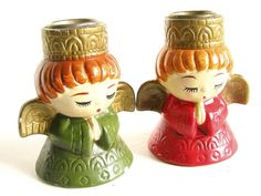 Vintage Praying Angels Candleholders Japan by bythewayside on Etsy, $15.00