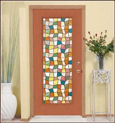 Privacy Stained Glass Window Film Savannah - DIY Faux Stained Glass Window & Doors Save Energy, Reduce Heat, Filter UV Rays - Decorate With Earth-tone Colors - Wallpaper For Windows