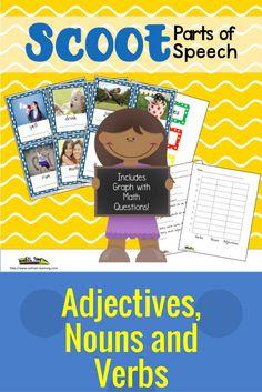 This is a great PARTS of SPEECH sorting activity to do with your kiddos! There are 24 photographic cards to sort into adjectives, nouns and verbs. You can have the students sort the cards and graph the different parts of speech, and answer math questions. Then your students can play Scoot or Brain Bounce to see how well they know adjectives, nouns and verbs. We have included a teacher guide to give you ideas on how to use these cards.