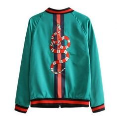 Snake embroidered bomber jacket for girls spring butterfly green jacket coat