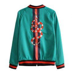Snake embroidered bomber jacket for girls spring butterfly green jacket coat