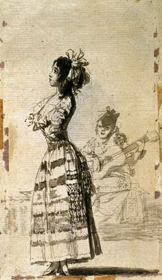 GOYA Y LUCIENTES, Francisco de Girl Listening to a Guitar 1796-97 Indian ink wash, 170 x 99 mm Museo del Prado, Madrid