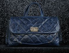 Chanel Flap Bag crackled glaze calfskin satchel with double handle (Spring-Summer 2012 pre-collection)