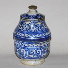 Antique Faience Pottery Islamic Middle East Persian Iznik Covered Bowl Jar #Iznik #MidEasternPottery